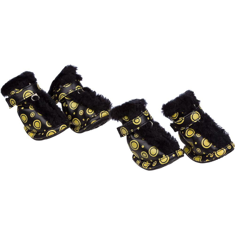 Petlife Small Black/Yellow Fur Protective Boots (Set of 4)