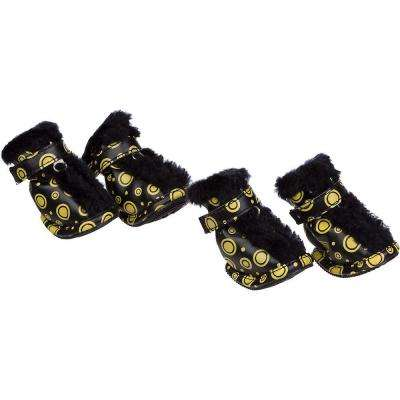 Small Black/Yellow Fur Protective Boots (Set of 4)