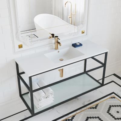 Pierre 48 in. Single, Metal Frame, Open Shelf, Bathroom Vanity in Black, Vanity Top in White with White Basin