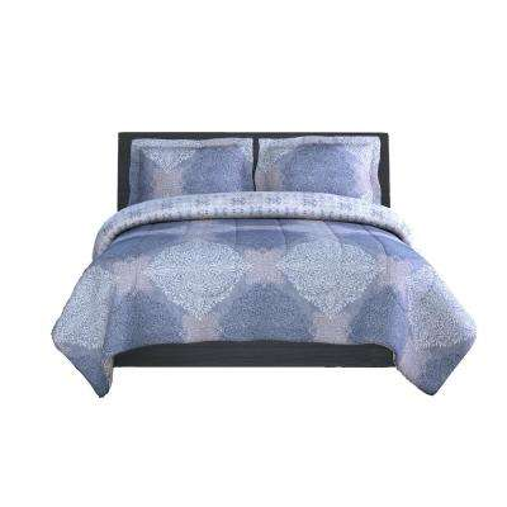 Ava Medallion Microfiber 90 in. x 90 in., Sham 20 in. x 26 in. 3-Piece Full/Queen Comforter Set