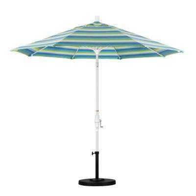9 ft. Matted White Aluminum Market Patio Umbrella with Collar Tilt Crank Lift in Seville Seaside Sunbrella