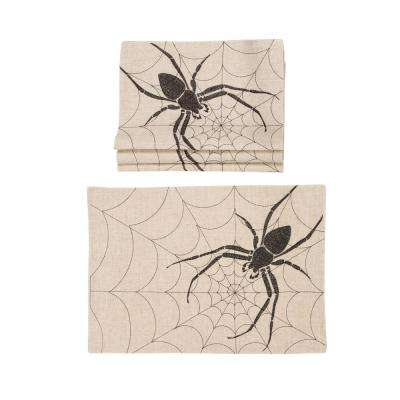 0.1 in. H x 20 in. W x 14 in. D Halloween Creepy Spiders Double Layer Placemats in Natural (Set of 4)