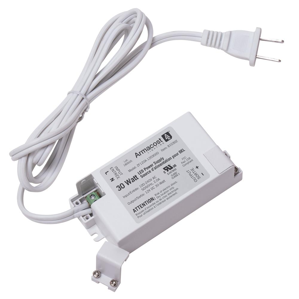 Armacost Lighting 30-Watt Standard Power Supply The Armacost Lighting 30-Watt 12-Volt DC LED power supply delivers highly efficient, stabilized power for LED lighting. For use with Armacost Lighting's RibbonFlex Pro LED Tape Lighting - Store SKU #'s 592412 and 592808 - and other LED lighting systems requiring 12-Volt constant voltage power. For LED lighting brightness control, power supply is compatible with Armacost Lighting's low voltage LED lighting dimmer, store SKU # 589376. Not for use with 120-Volt AC dimmer switches. If additional wattage is required, choose a 60-Watt power supply, store SKU# 591620.