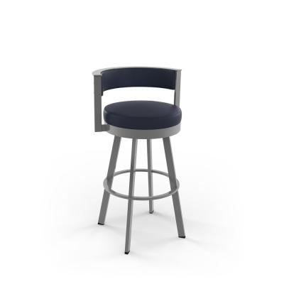 Browser 30 in. Navy Blue Faux Leather Glossy Grey Metal Swivel Bar Stool
