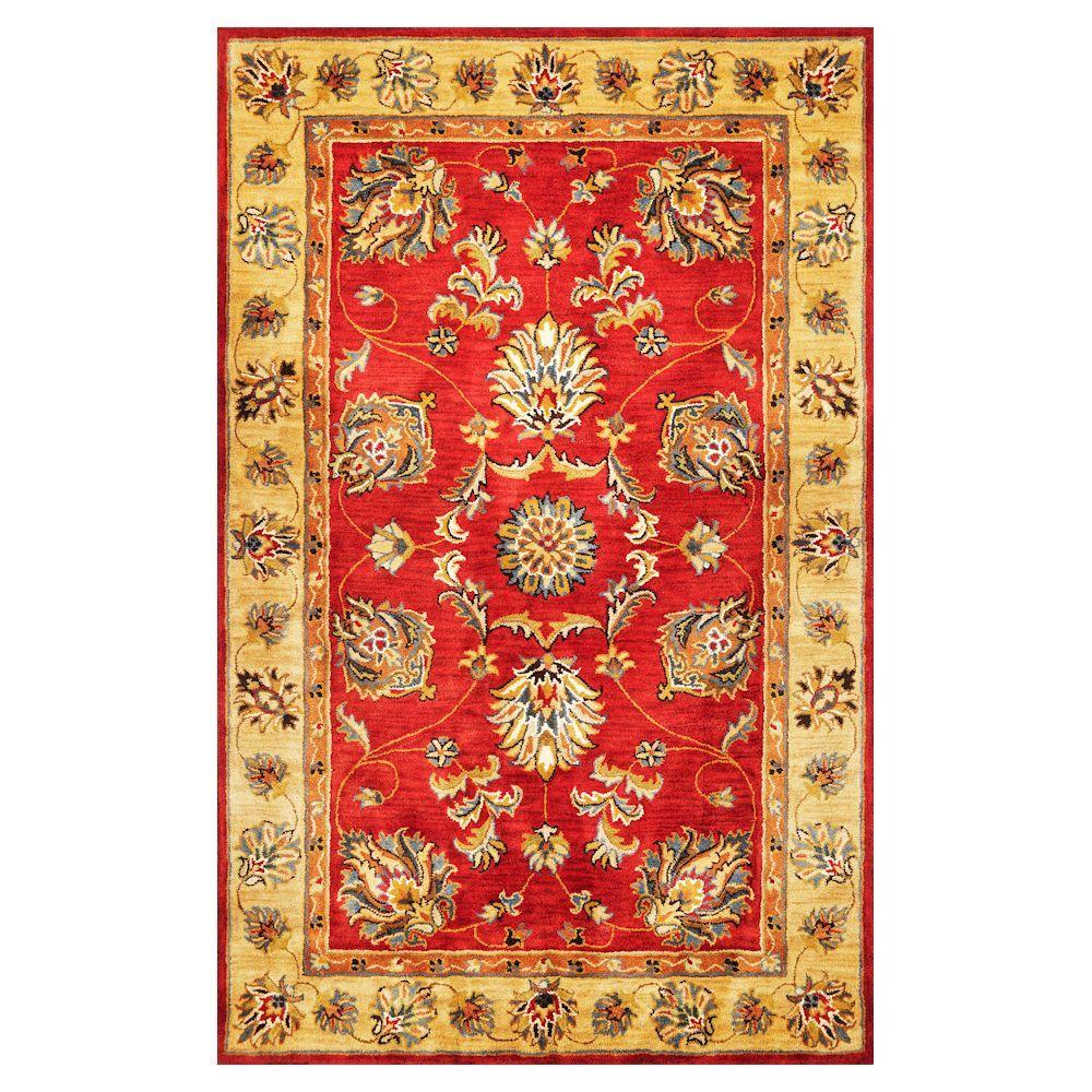 Kas Rugs Fashion Mahal Red/Cream 3 ft. 3 in. x 5 ft. 3 in. Area Rug