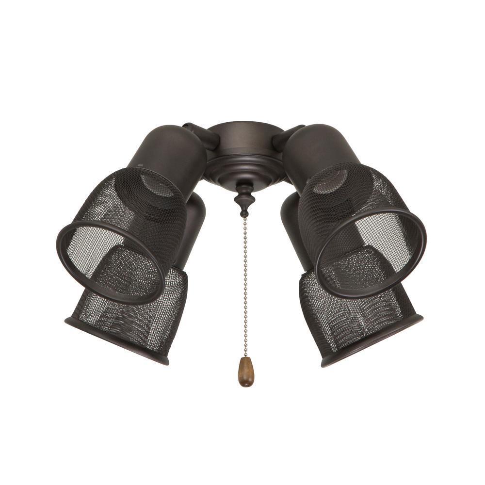Four Spot Mesh 4-Light Oil Rubbed Bronze Ceiling Fan Light Kit