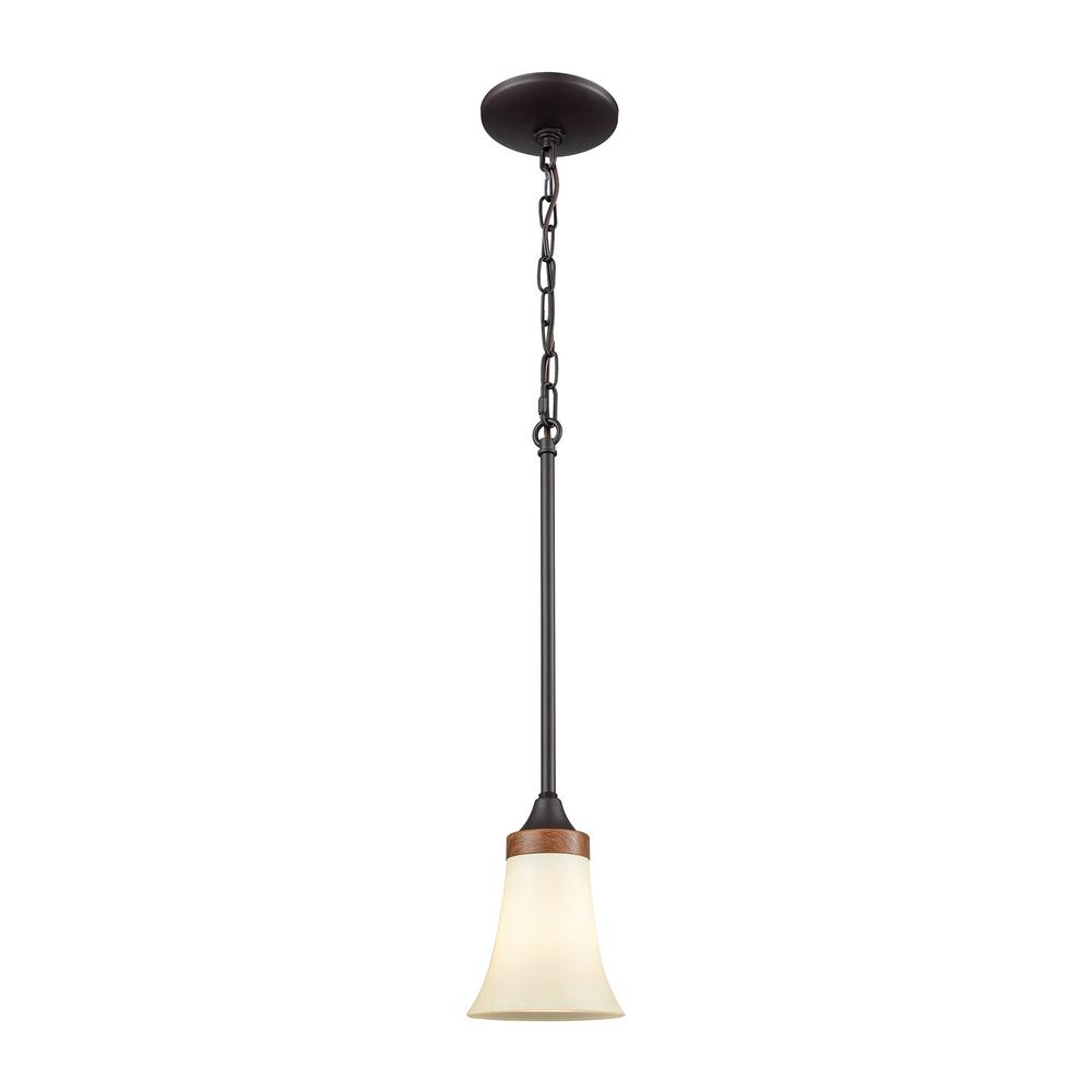 Park City 1-Light Oil Rubbed Bronze and Wood Grain with Light