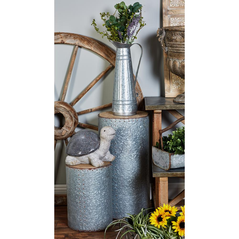 Metallic Gray Cylindrical Pedestals with Brown Tabletop (Set of 3)