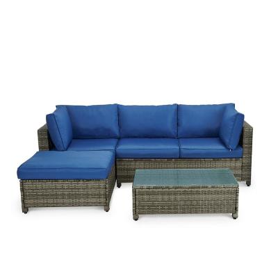 Boyel Living Gray 3-Piece Wicker Sectional Set w/ Blue Cushions