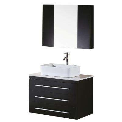 Portland 30 in. W x 22 in. D Vanity and Mirror in Espresso with White Quartz Vanity Top