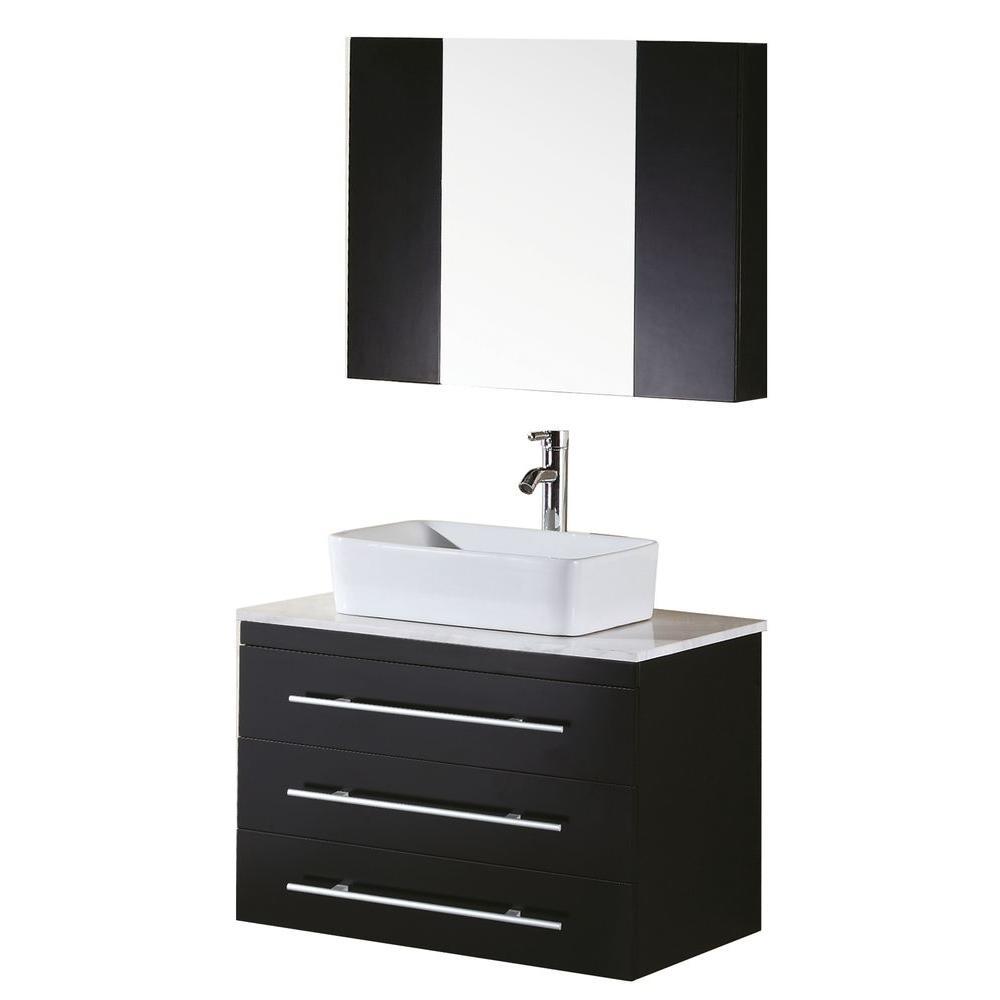 Portland 30 in. W x 22 in. D Vanity and Mirror in Espresso with White Quartz Vanity Top