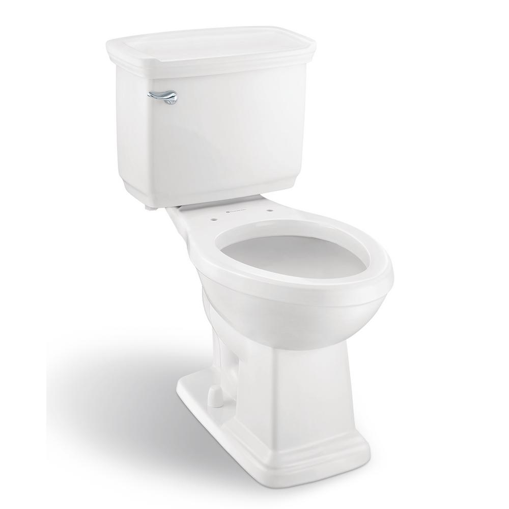Glacier Bay Designer 2-Piece 1.28 GPF Single Flush Elongated Toilet in White Seat Not Included