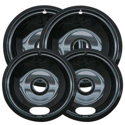 6 in. 2-Small and 8 in. 2-Large A Style Drip Pan in Black Porcelain (4-Pack)