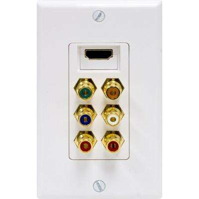 Component Video/HDMI/Digital and Audio Combination Wall Plate - White