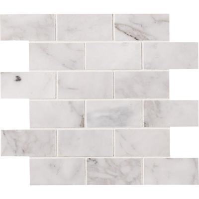 Calacatta Cressa 12 in. x 12 in. x 10 mm Honed Marble Mesh-Mounted Mosaic Tile (9.8 sq. ft. / case)