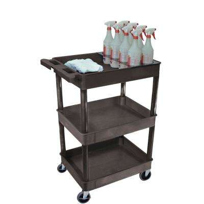 STC 24 in. 3-Shelf Utility Cart with bottle holder in Black