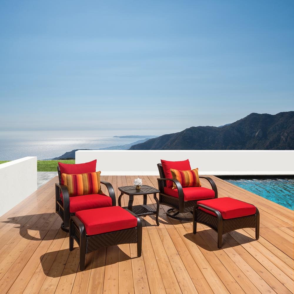 RST Brands Barcelo 5-Piece Motion Wicker Patio Deep Seating Conversation Set with Sunbrella Sunset Red Cushions
