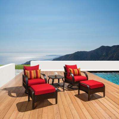 Barcelo 5-Piece Motion Wicker Patio Deep Seating Conversation Set with Sunbrella Sunset Red Cushions
