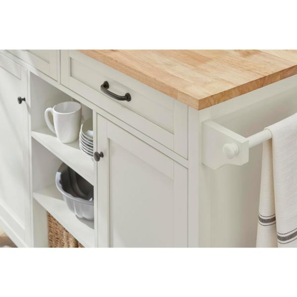 Home Decorators Collection Rockford White Kitchen Cart With Butcher Block Top Sk19238e5r1 W The Home Depot