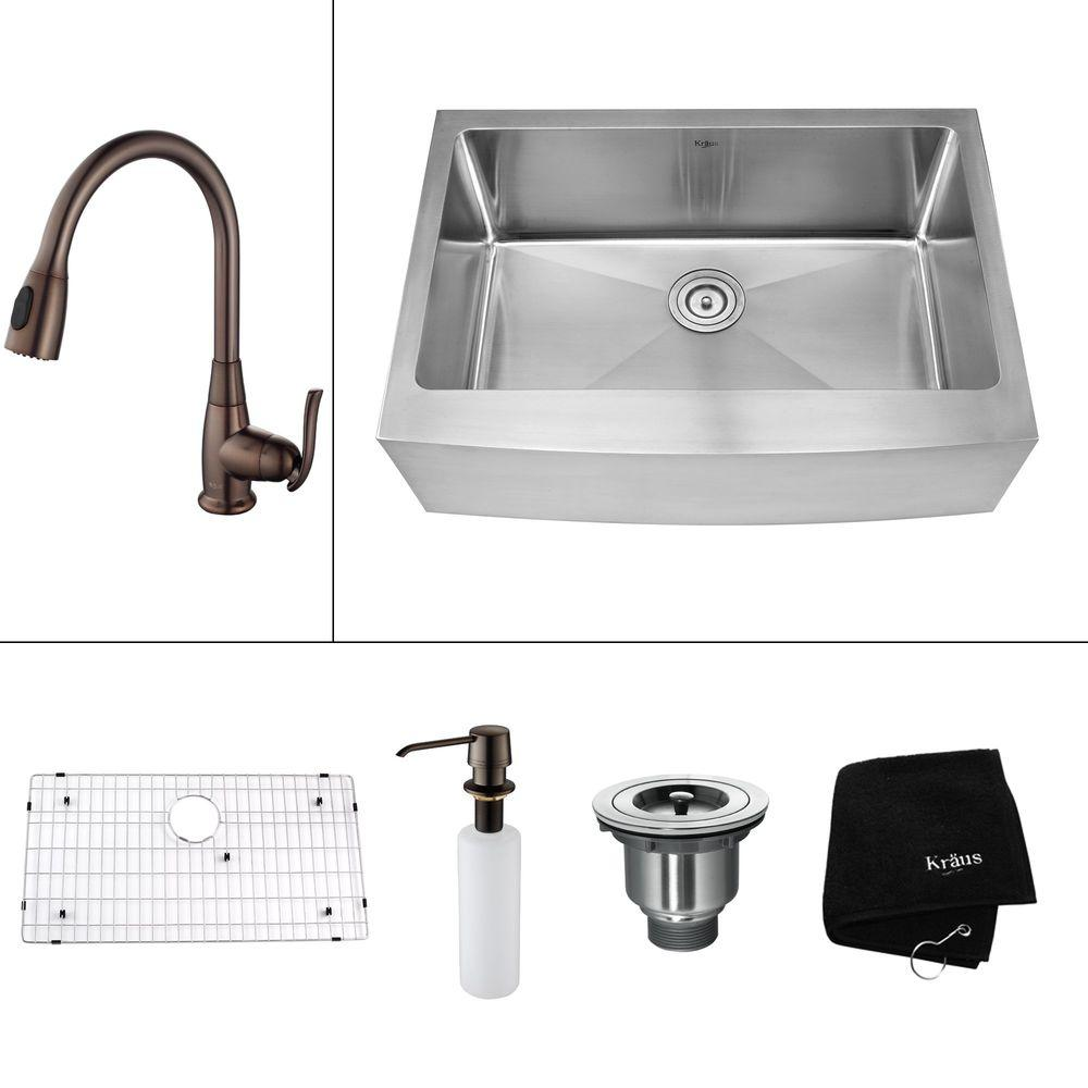 KRAUS All-in-One Farmhouse Apron Front Stainless Steel 30 in. Single Basin Kitchen Sink with Faucet in Oil Rubbed Bronze