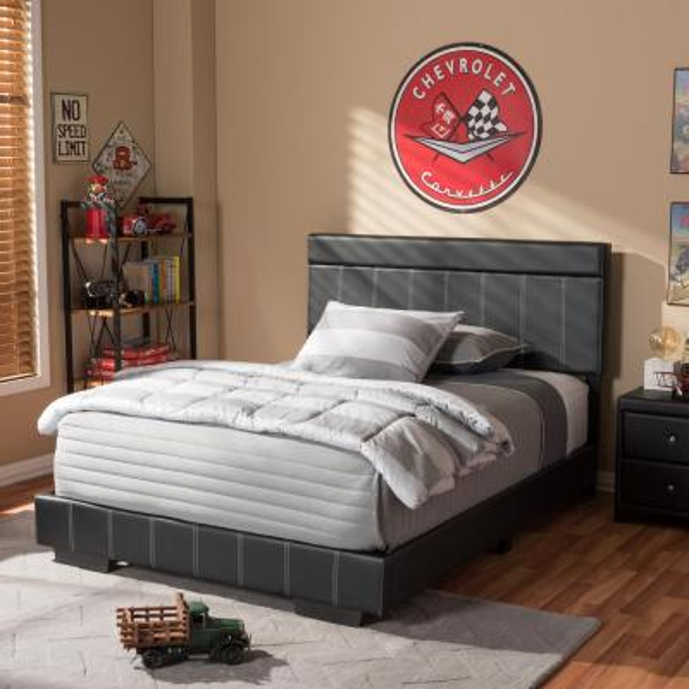 Solo Black Full Upholstered Bed