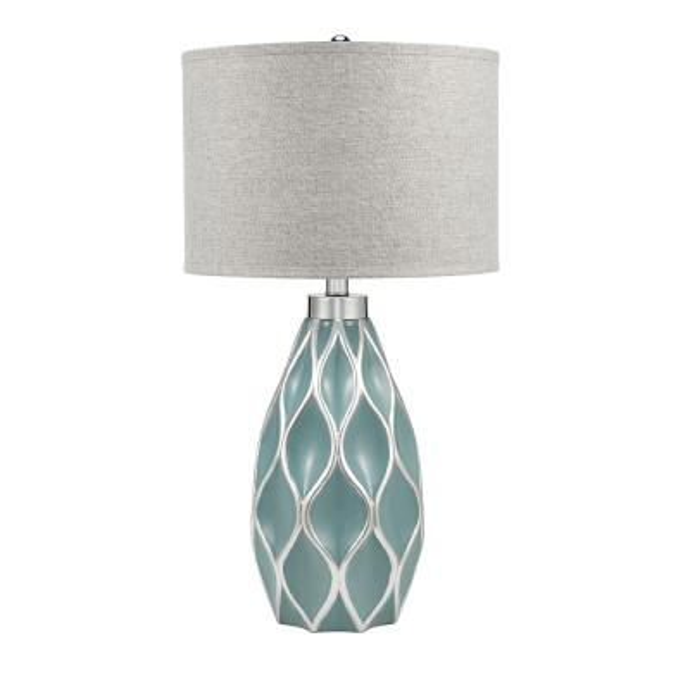 31.5 in. Aquifer and Silver Leaf Coastal Diamond Lattice Table Lamp