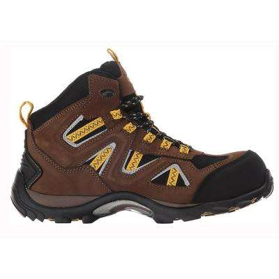 Trench Mid Men Size 8 Brown Leather/Mesh Composite Toe Waterproof Work Boot