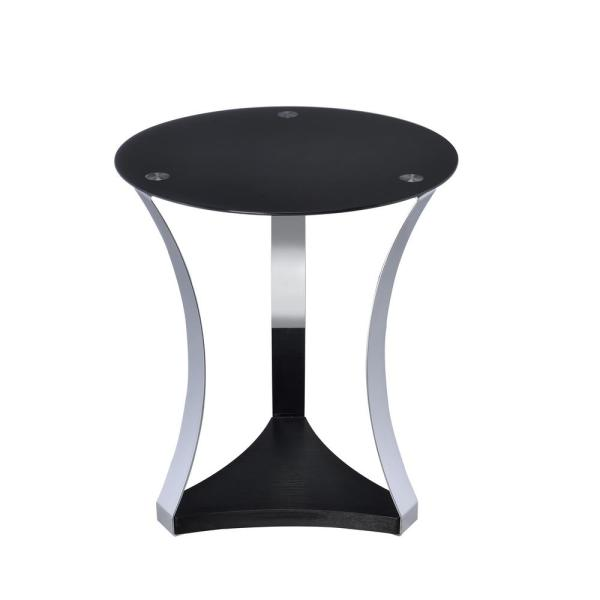 ACME Furniture Geiger Rose Gold and Black Glass Top End Table