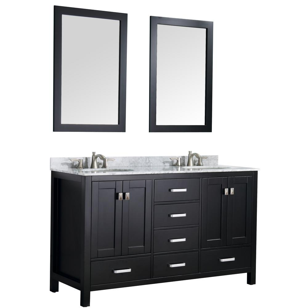ANZZI Chateau 60 in. W x 36 in. H Bath Vanity in Black with Marble Vanity Top in Carrara White with White Basins and Mirrors