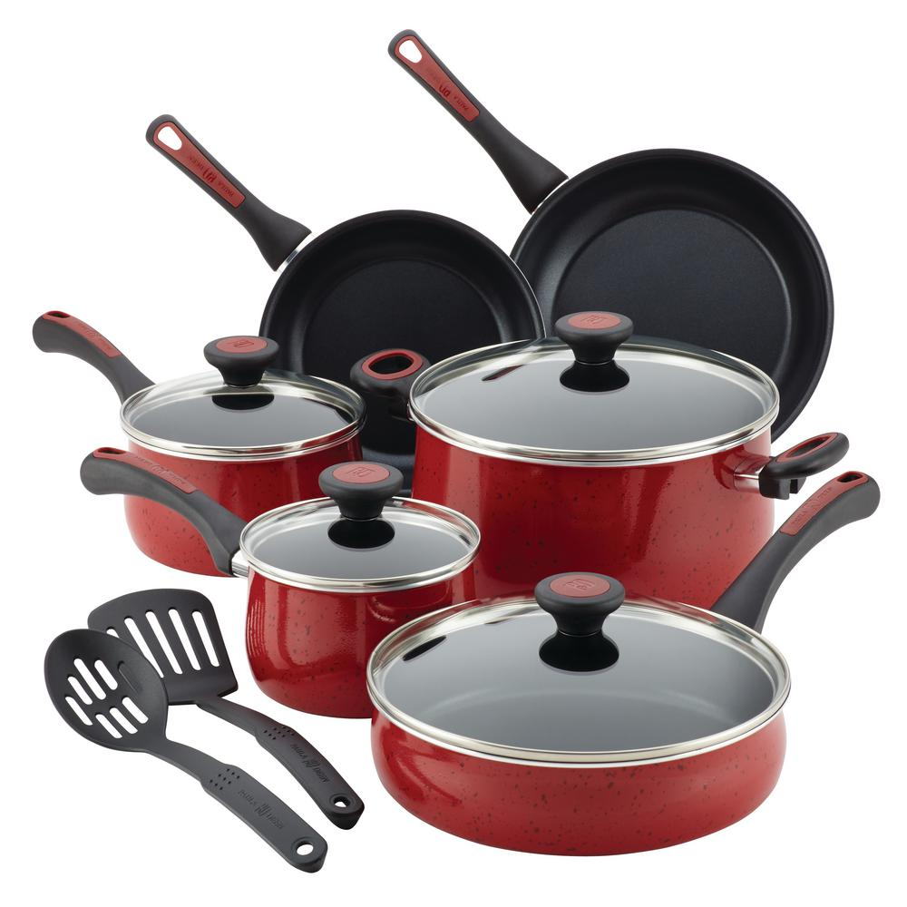 PAULA Riverbend 12-Piece Red Speckle Cookware Set with Lids