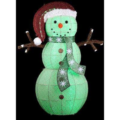 34 in. W x 13.50 in. D x 50 in. H Color Changing Frosted Snowman