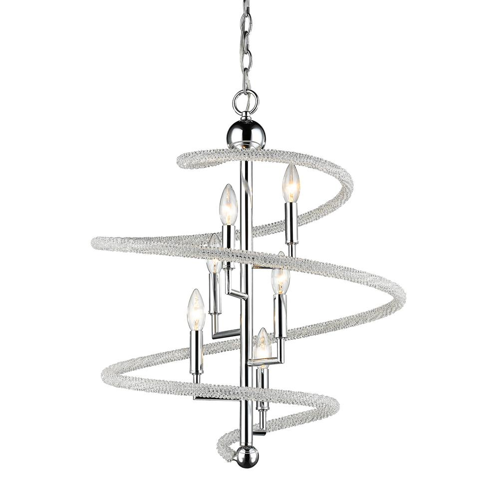 Filament Design Hartley 6-Light Chrome Pendant with Clear and Chrome Crystal and Steel Shade