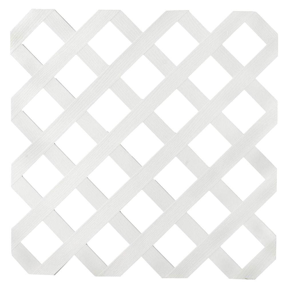 null 1/8 in. x 24 in. x 8 ft. White Garden Plastic Lattice