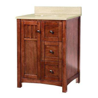 Knoxville 25 in. W x 22 in. D Vanity in Nutmeg with Colorpoint Vanity Top in Maui