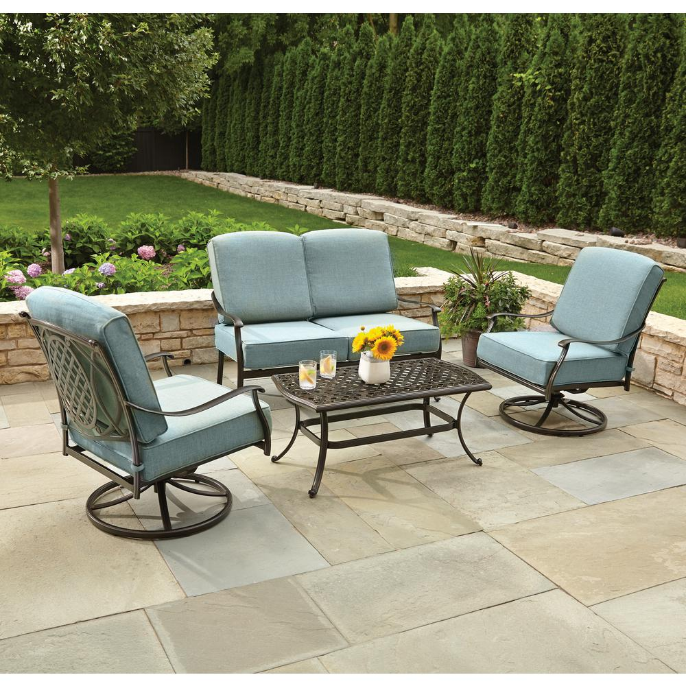 Hampton bay belcourt 4 piece metal patio conversation set for Small metal patio set