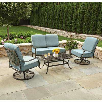 Amazing Belcourt 4 Piece Metal Patio Conversation Set With Spa Cushions
