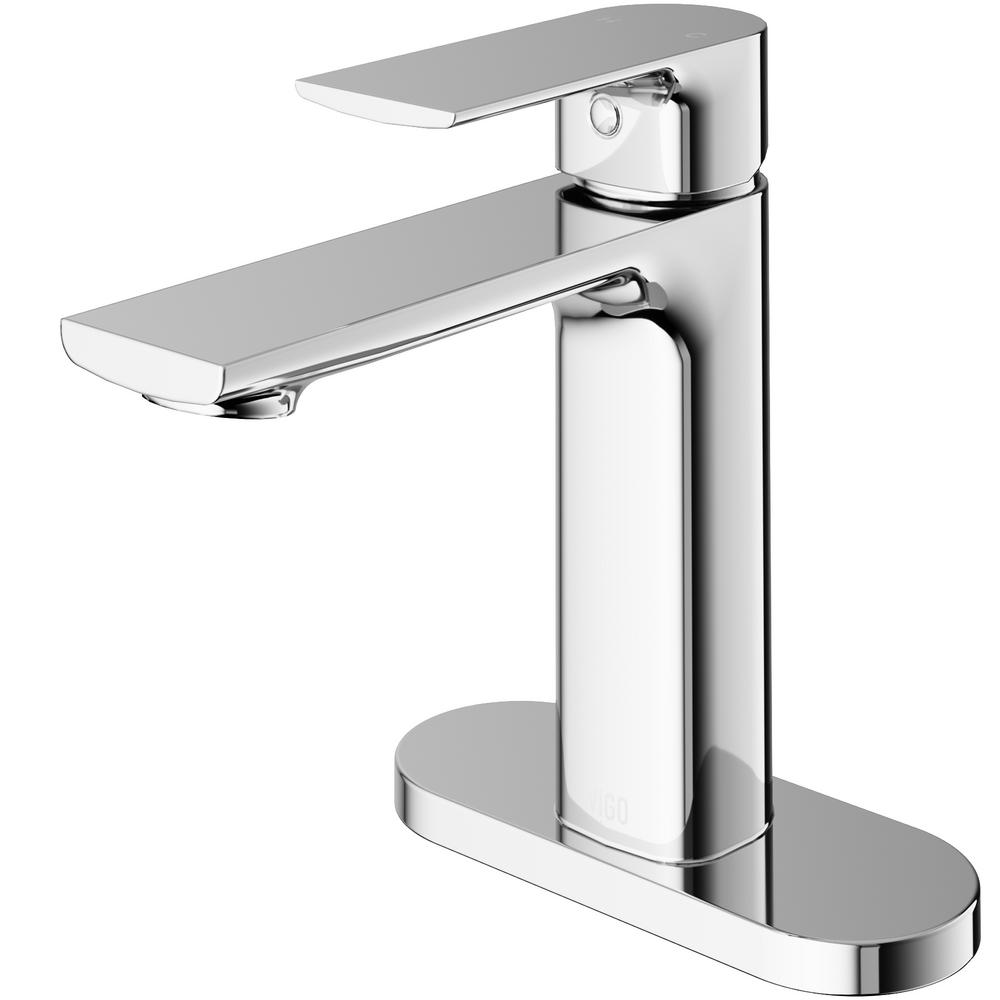 VIGO Davidson Single Hole Single-Handle Bathroom Faucet with Deck Plate in Chrome