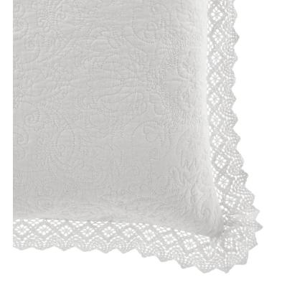 Solid Crochet White European Sham Pair