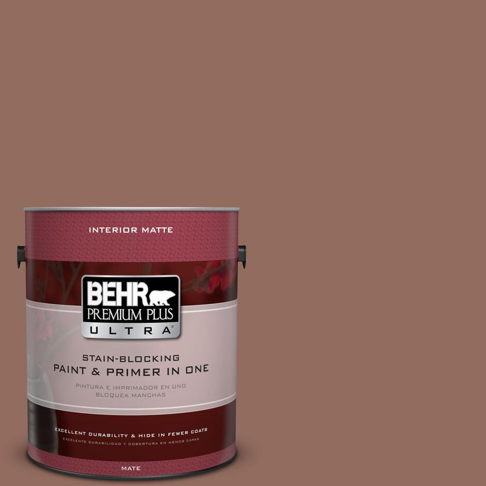 BEHR Premium Plus Ultra 1 gal. #220F-6 Chocolate Curl Flat/Matte Interior Paint