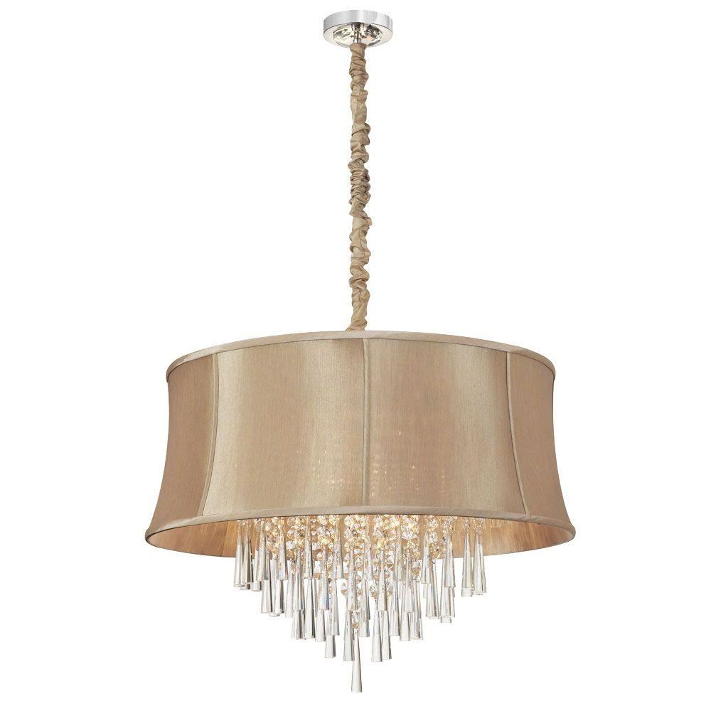 Radionic Hi Tech Julia 8-Light Polished Chrome Crystal Chandelier with Latte Shade