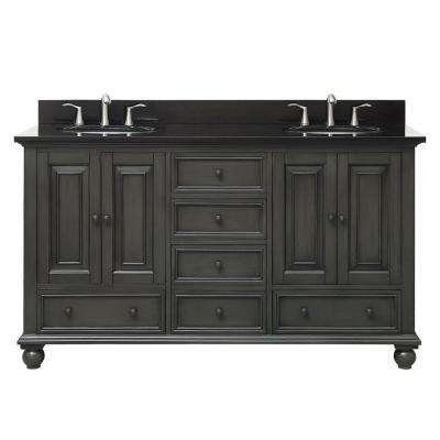 Thompson 61 in. W x 22 in. D x 35 in. H Vanity in Charcoal Glaze with Granite Vanity Top in Black with White Basin