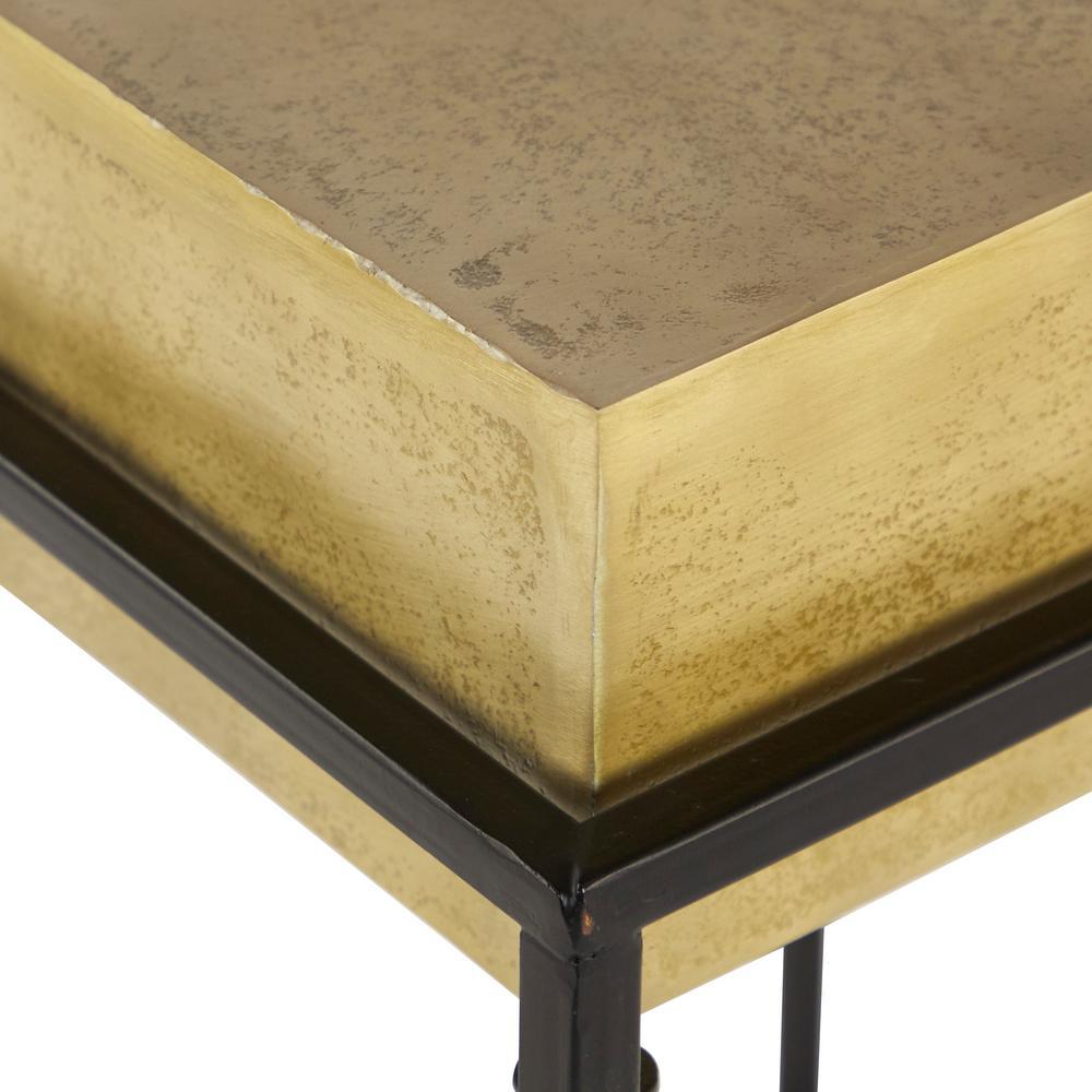 Litton Lane Small Mid Century Modern Gold Aluminum Block