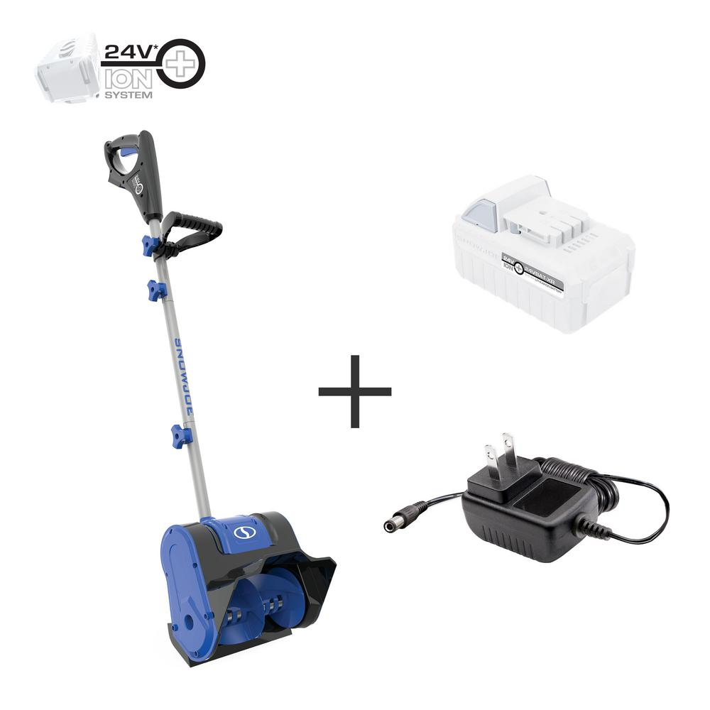 Snow Joe 10 in. 24-Volt Cordless Electric Snow Shovel Kit with 5.0 Ah Battery + Charger