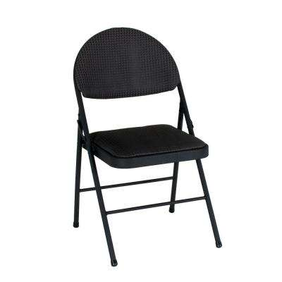 Oversized Black Metal Frame Padded Seat Folding Chair (Set of 4)