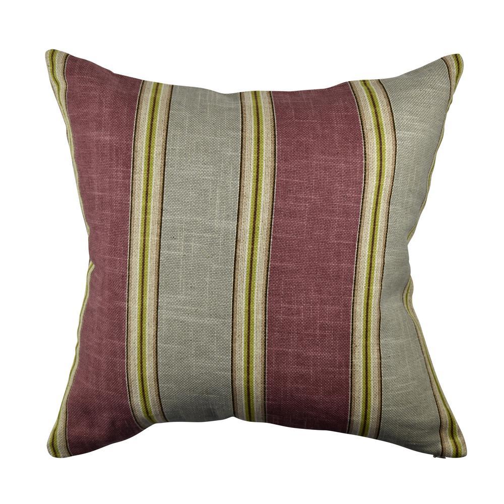 Classic Maroon Stripes Jacquard Throw Pillow