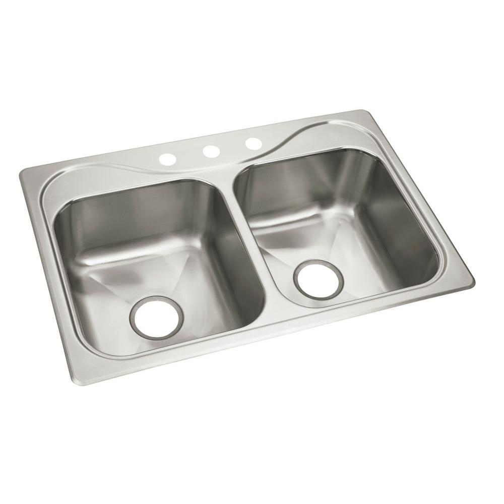 sterling southhaven x drop in stainless steel 22 in  3 hole double bowl kitchen sink 11855 3 na   the home depot sterling southhaven x drop in stainless steel 22 in  3 hole double      rh   homedepot com