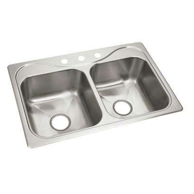 Southhaven X Drop-In Stainless Steel 22 in. 3-Hole Double Bowl Kitchen Sink
