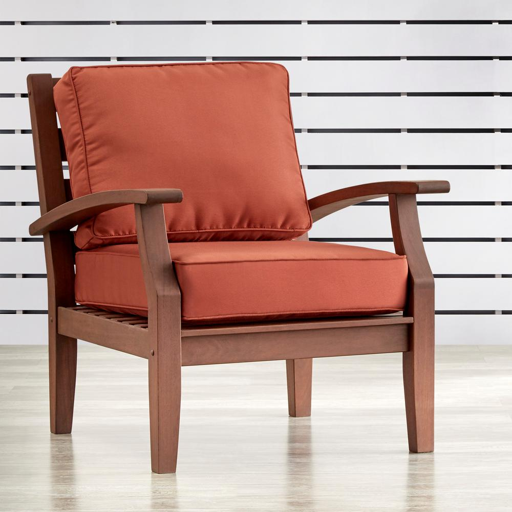 Verdon Gorge Brown Oiled Wood Outdoor Occasional Lounge Chair with Red