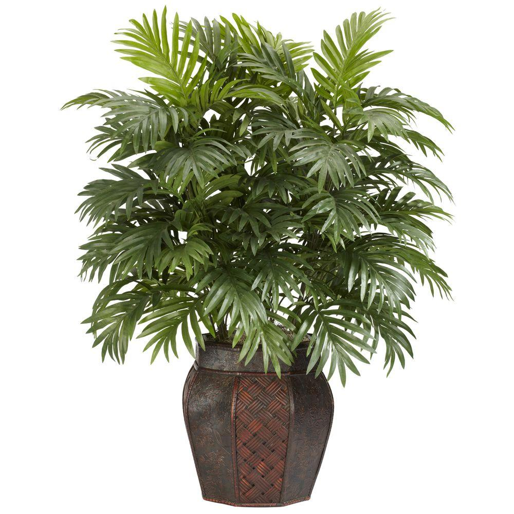 Nearly Natural 38 in. H Green Areca Palm with Vase Silk Plant