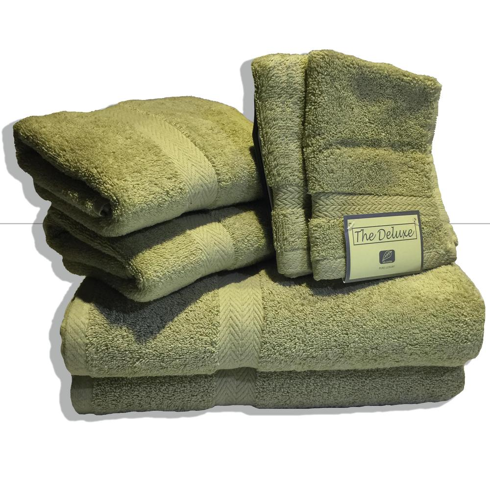 deluxe bath towel 6 piece cotton terry set 100 real sage green heavy weight new 52501840630 ebay. Black Bedroom Furniture Sets. Home Design Ideas